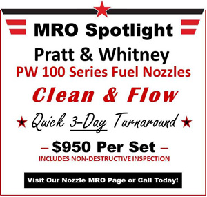 Pratt Whitney PW 100 fuel nozzle maintenance repair and overhaul service by US Aerospace Corp